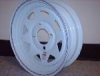 "13"" White Spoke Rim w/ Red/Blue Pinstripe, 4 x 4"" BP"