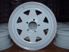 "13"" White Spoke Rim w/ Red/Blue Pinstripe & Clear Coat, 5 x 4.5"" BP"